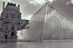 Louvre paris in Black and White. The Louvre in paris black & white Shot in the morning Stock Images
