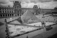 Louvre in Paris, France, Black and White Royalty Free Stock Photo