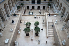 The Louvre. PARIS, FRANCE - SEPTEMBER 18, 2016: View of the interior of the Louvre in France, Paris. The Louvre is one of Paris` most famous landmarks Royalty Free Stock Photography