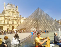 Louvre, Paris, the large glass pyramid and the main courtyard. Stock Images