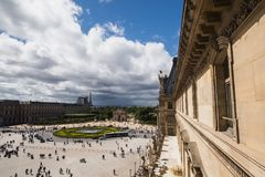 A beautiful European city. Euro-trip. The Louvre in Paris, the largest museum in the world. Louvre Pyramid. Travel through Europe. Attractions in France. View of Stock Images