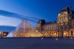 Louvre Piramida noc Zdjęcie Royalty Free