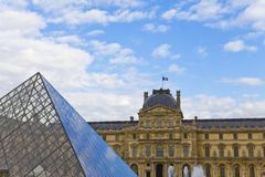Louvre and the Pyramid Royalty Free Stock Photo