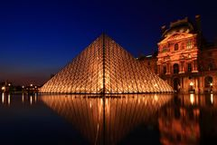 Louvre pyramid Royalty Free Stock Image