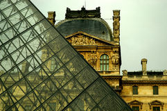The Louvre and the Pyramid - Close Up. This is the most visited museum in the world, Louvre in Paris Stock Image