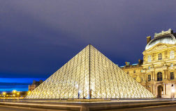 The Louvre pyramid closeup view, Paris, France. royalty free stock photo