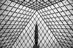 Louvre Museum Pyramid taken from the bottom. Royalty Free Stock Photo
