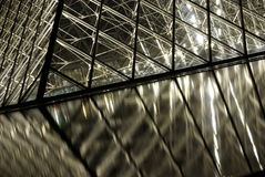 Louvre pyramid detail at night Stock Photography