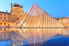 The Louvre Pyramid at dusk during the Michelangelo Pistoletto Ex Stock Images