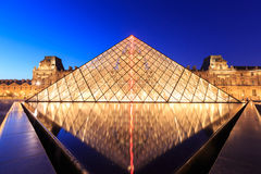 The Louvre Pyramid at dusk during the Michelangelo Pistoletto Ex Royalty Free Stock Image