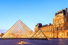 The Louvre Pyramid at dusk during the Michelangelo Pistoletto Ex Royalty Free Stock Images