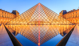 The Louvre Pyramid at dusk during the Michelangelo Pistoletto Ex Stock Photography