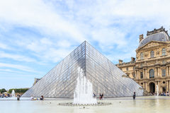 The Louvre Pyramid at dusk during the Michelangelo Pistoletto Ex Stock Photo