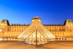 The Louvre Pyramid at dusk during the Michelangelo Pistoletto Ex Royalty Free Stock Photography