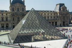 Louvre pyramid. Glass pyramid - entrance to Louvre museum in Paris, France stock photography