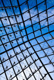 Through the Louvre Pyramid Glass From Inside Stock Images