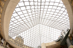 Louvre pyramid from inside Stock Photography
