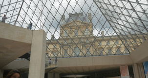 Louvre Pyramid lobby, indoor view stock footage