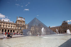 Louvre Pyramid at Louvre Museum. Is one of famous museum and the most visited museum in the world Royalty Free Stock Photo