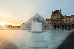 Louvre Pyramid at Louvre Museum is one of famous museum and the most visited museum in the world at Paris, France. Royalty Free Stock Photos
