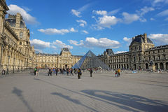 Louvre Pyramid and Louvre Palace in Paris in France Royalty Free Stock Images