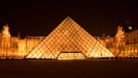 Louvre pyramid by night Stock Photography