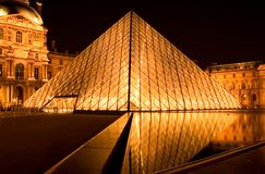 Louvre pyramid by night Royalty Free Stock Photo