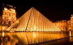 Louvre pyramid by night royalty free stock image