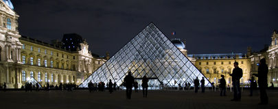 Louvre Pyramid at night Stock Photography