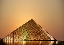 Louvre, Pyramid (by night), France Stock Images
