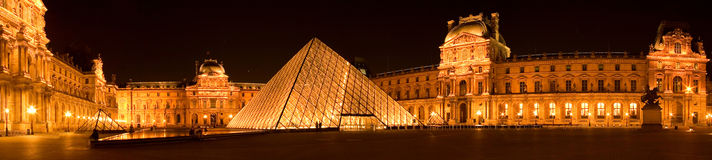 Louvre pyramid by night panorama stock images