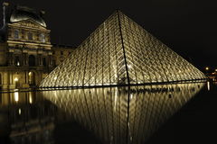 Louvre Pyramid at Night, Paris, France Royalty Free Stock Photography