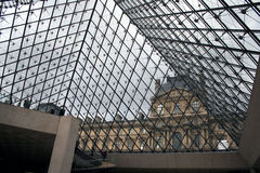 Louvre pyramid in Paris Royalty Free Stock Images