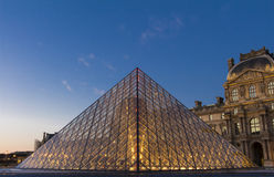 The Louvre Pyramid, Paris, France. Royalty Free Stock Images