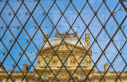 Louvre Pyramid, Paris France Stock Images