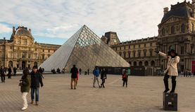 The Louvre pyramid, Paris, France. Stock Photo