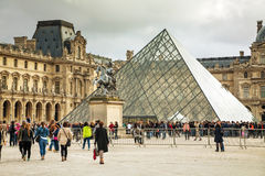 The Louvre Pyramid in Paris Stock Image