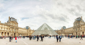 The Louvre with Pyramid in Paris Stock Image