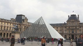 The Louvre Pyramid in Paris stock video
