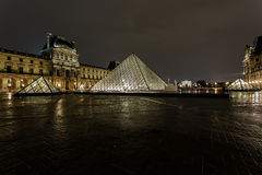 Louvre Pyramid and Pavillon Richelieu Royalty Free Stock Photography