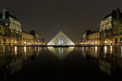 Louvre Pyramid and Pavillon Richelieu Royalty Free Stock Photos