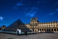 Louvre Pyramid Pyramide du Louvre angle, paris. Louvre Pyramid, Pyramide du Louvre angle with the fountain, in front of the museum, Paris, France Stock Image