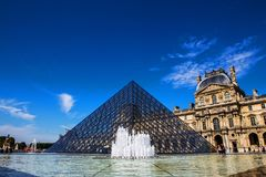 Louvre Pyramid Pyramide du Louvre angle, paris. Louvre Pyramid, Pyramide du Louvre angle with the fountain, in front of the museum, Paris, France Stock Photo
