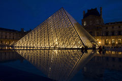 The Louvre pyramids at night Stock Images