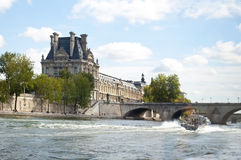 Louvre and the Seine, Paris Royalty Free Stock Photography