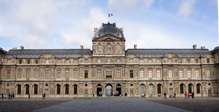 The Louvre.The square of Carre, on which tourists walk and take Royalty Free Stock Photos