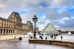 Louvre winter tourism Stock Image