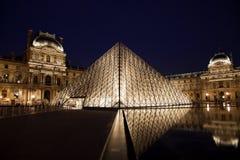 Louvremuseum met Piramide Royalty-vrije Stock Afbeelding