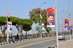 Louxor prépare pour le Président la visite de XI Jinping chinois Images stock