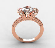 Lovable 18k Rose Gold Round Diamond Ring Stock Photography